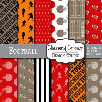 Orange and Red Football Digital Paper 1469