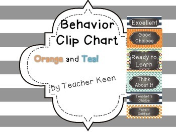 Orange and Teal Behavior Clip Chart