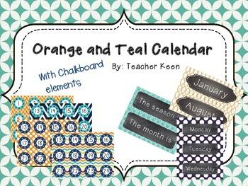 Orange and Teal Calendar *New*