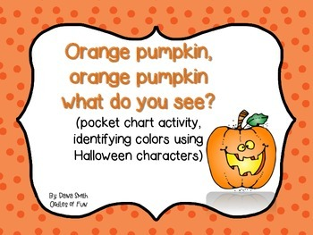 Orange pumpkin, what do you see? (identify Halloween characters)