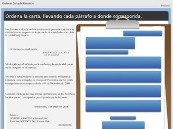 Ordena la Carta - Actividad interactiva en español - spani
