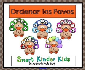 Thanksgiving - Ordenar los Pavos - A Spanish Alphabet Game