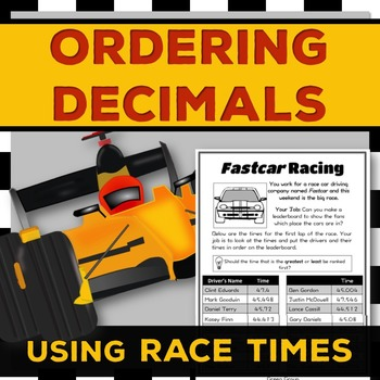 Ordering Decimals: Help a Racing Company {Differentiated}