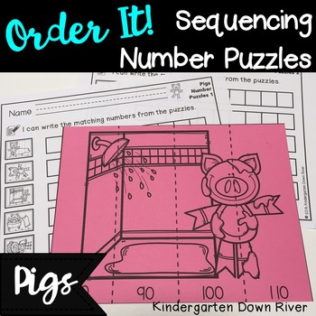 Order It! Pigs Sequencing Number Puzzles- Counting by 10s