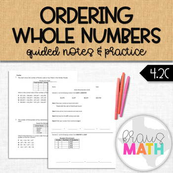 Order Whole Number Notes and Practice (4.2C)
