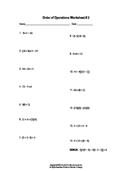 Order of Operation Worksheet #2