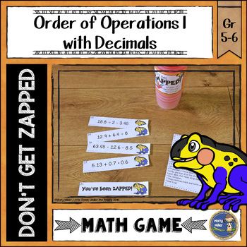 Order of Operations 1 Decimals Don't Get ZAPPED Math Game