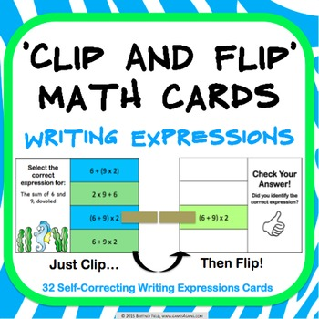 Order of Operations Task Cards: Writing Expressions From W