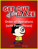 Order of Operations Maze/Worksheets - WITH Parentheses/Brackets