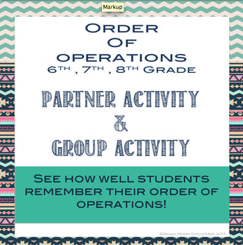 Order of Operations Partner and Group Activity