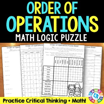Order of Operations Activity: Order of Operations Puzzle (5.OA.1)