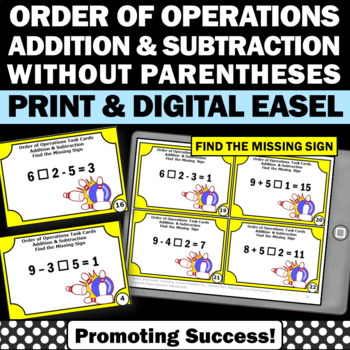 Order of Operations Addition and Subtraction Without Paren