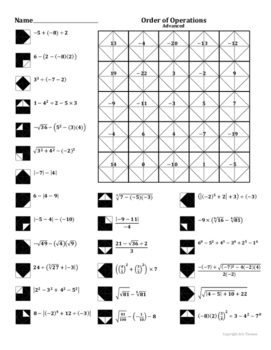 Order of Operations (Advanced) Coloring Worksheet