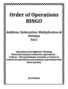 Order of Operations BINGO - (Set C)