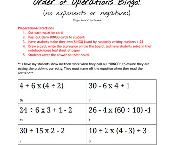 Order of Operations Bingo - no exponents or negatives WITH