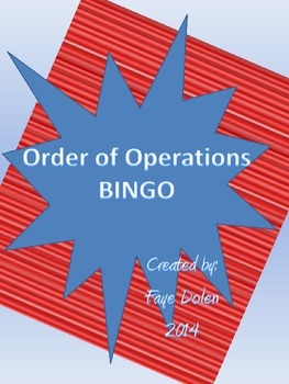 Order of Operations Bingo Game