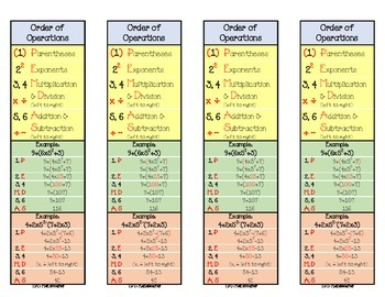 Order of Operations Bookmark
