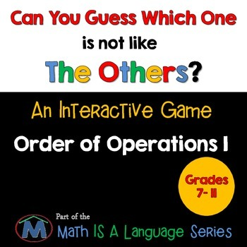 Order of Operations - Can you guess which one? Game I