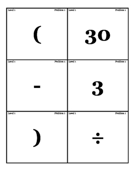 Order of Operations Cards