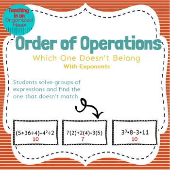Order of Operations Center--Which One Doesn't Belong
