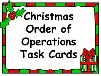 Christmas Task Cards - Order of Operations