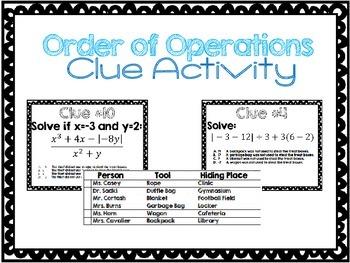 Order of Operations Clue Activity - {Algebra 1}