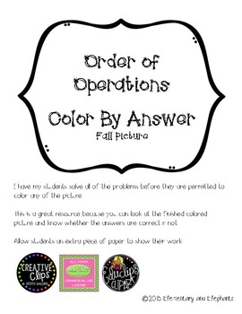 Order of Operations Color By Answer