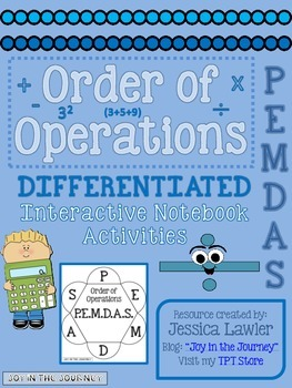 Order of Operations Differentiated Interactive Notebook Ac