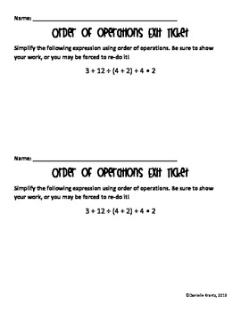 Order of Operations Exit Ticket