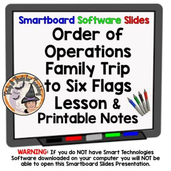 Order of Operations Family Trip to Six Flags Smartboard Le