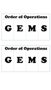 Order of Operations Foldable: GEMS
