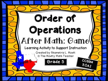 Order of Operations: File Folder Game
