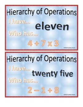 Order of Operations - Hierarchy of Operations - Numbers an
