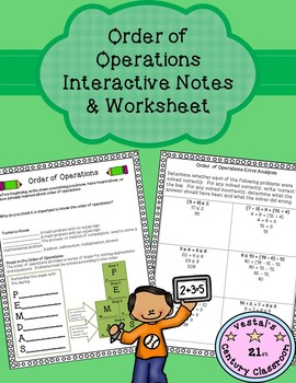 Order of Operations Interactive Notes