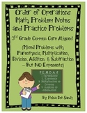 Order of Operations Math Notes & Practice Problems - 3rd G