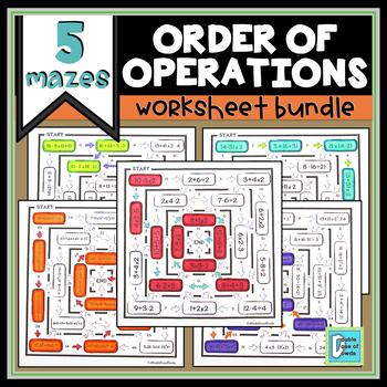 Order of Operations Maze Bundle