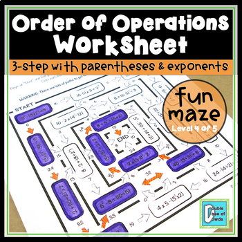 Order of Operations Maze - Level 4