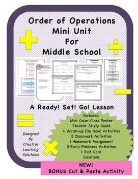 Order of Operations Mini-Unit for Middle School with BONUS