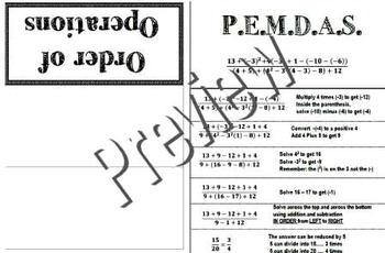 Order of Operations PEMDAS Foldable Interactive Notebook G
