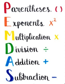 Order of Operations (PEMDAS) Sign