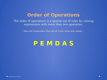 Order of Operations- PEMDAS Powerpoint and Practice