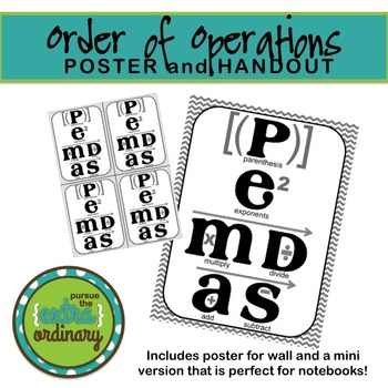 Order of Operations - Poster and Handouts (PEMDAS)
