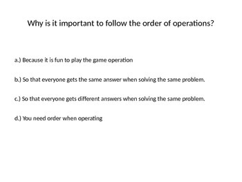Order of Operations PowerPoint Quiz/Review