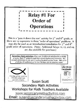 Order of Operations RELAY #1 - 5th and 6th Grade Math