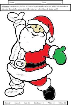 Order of Operations: Santa Coloring Sheet