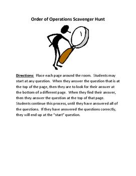 Order of Operations Scavenger Hunt - 6th grade math