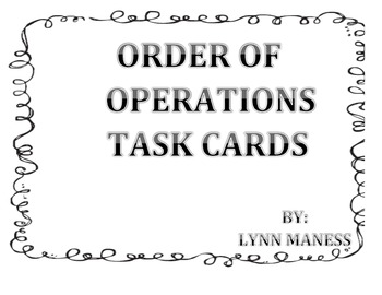 Order of Operations Task Cards STAAR review