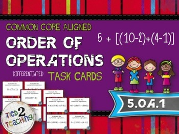 Order of Operations Task Cards - 28 Common Core Aligned Mi