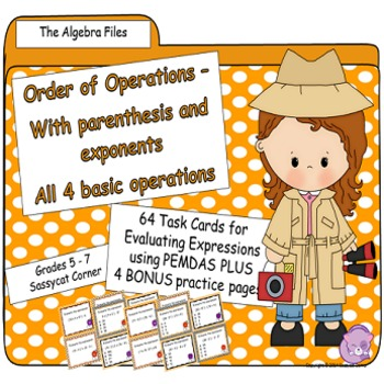 Order of Operations Task Cards - The Algebra Files (has pa