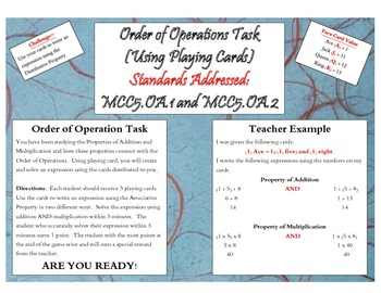 Order of Operations Task - Using Playing Cards